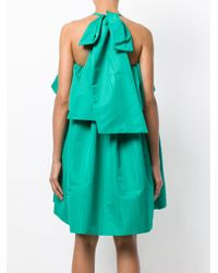 MSGM Green Giant Bow Ruffle Dress