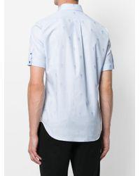 Alexander McQueen - Blue Camicia Classica In Jacquard 'skull' for Men - Lyst