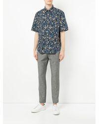 Cerruti 1881 - Blue Leaf Print Short Sleeve Shirt for Men - Lyst