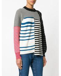 Sonia Rykiel - White Striped Panelled Jumper - Lyst