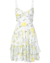 Cinq À Sept - White Floral Ruffle Dress - Lyst