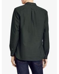 Burberry - Green Check Detail Oxford Shirt for Men - Lyst