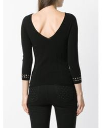 Twin Set - Black Studded-cuffs Fitted Sweater - Lyst
