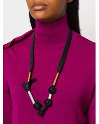 Marni - Black Fabric Ball Necklace - Lyst