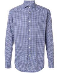 Corneliani Blue Classic Checked Shirt for men