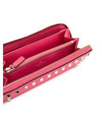 Valentino - Pink Rockstud Wallet - Lyst