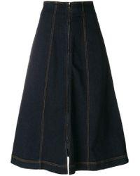 Fendi | Blue Denim Flared Midi Skirt | Lyst