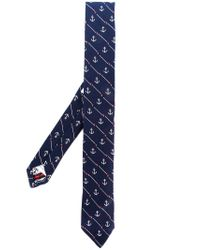 Thom Browne Blue Striped Anchor Icon Necktie In Silk And Cotton for men