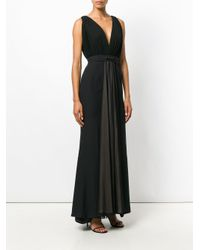 Francesco Paolo Salerno - Black Pleated Gown With Back Bow Detail - Lyst