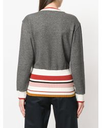 Maison Kitsuné - Gray Striped Back Jumper - Lyst