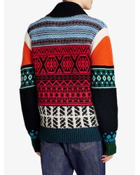 Burberry - Red Fair Isle Knitted Bomber Jacket for Men - Lyst