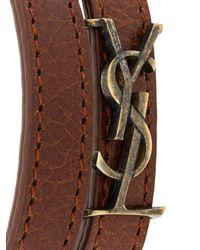 Saint Laurent - Brown Ysl Double Wrap Bracelet - Lyst