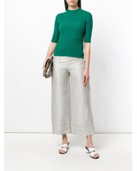 Incotex - Gray Cropped Flared Trousers - Lyst