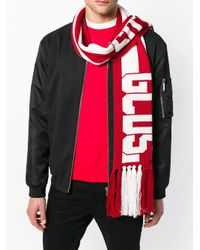 Gcds - Red Logo Colour-block Scarf for Men - Lyst