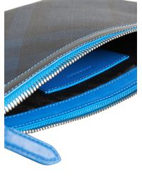 Burberry - Blue London Check Pouch for Men - Lyst