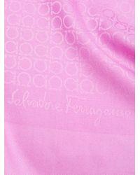 Ferragamo - Pink Fringed Monogram Scarf - Lyst