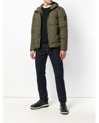 Stone Island - Green Zip Front Padded Jacket for Men - Lyst
