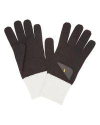 Fendi - Black Bicolor Appliqué Gloves for Men - Lyst
