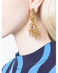 Oscar de la Renta | White Stacked Crystal Pendant Earrings | Lyst