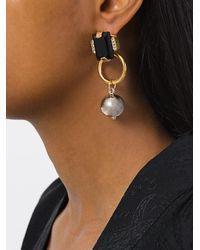 Marni - Metallic Drop Faux Pearl Pendant Earrings - Lyst