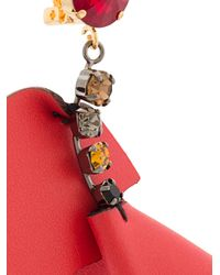 Marni - Red Embellished Flower Earrings - Lyst