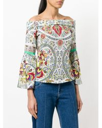 Etro - White Off-the-shoulder Printed Blouse - Lyst