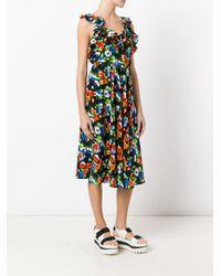 MSGM - Black Crossed Back Floral Dress - Lyst
