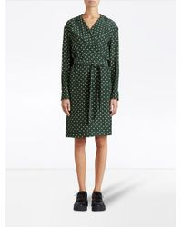Burberry - Green Polka-dot Wrap Dress - Lyst