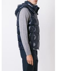 Moncler - Blue Lacet Hooded Down Gilet for Men - Lyst