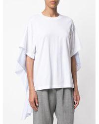 MM6 by Maison Martin Margiela - White Draped T-shirt - Lyst