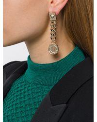 Versace - Metallic Orecchini Logo 'medusa' Con Catena - Lyst