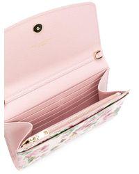 Dolce & Gabbana - Pink Rose Print Logo Chain Wallet - Lyst