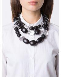 Monies - Black Multi Strand Bead Necklace - Lyst
