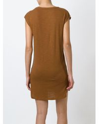 Majestic Filatures Brown Perforated Leather Dress