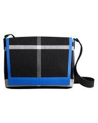 Burberry - Black Medium Leather Trim Check Messenger Bag for Men - Lyst
