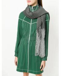 Valentino - Gray Garavani Lace-paneled Plissé Scarf - Lyst