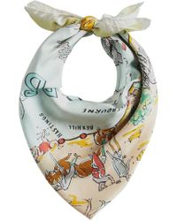 Burberry - Blue Seaside Print Square Scarf - Lyst