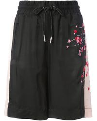 DIESEL - Black Embroidered Blossom Track Shorts - Lyst