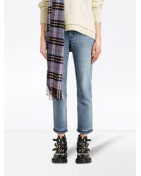 Burberry - Blue Slim Fit Frayed Cropped Jeans - Lyst