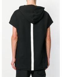 Les Hommes - Black Shortsleeved Hoodie for Men - Lyst