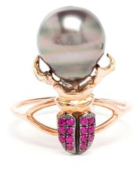 Daniela Villegas | Gray Ruby And Pearl Beetle Ring | Lyst