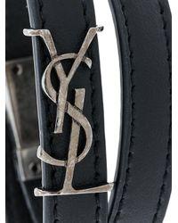 Saint Laurent - Black Ysl Double Wrap Bracelet - Lyst