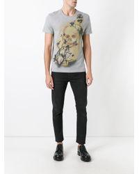 Alexander McQueen - Gray Skull And Bird Print T-shirt for Men - Lyst