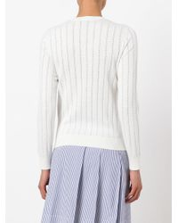 A.P.C. - White Hole Detail Longsleeve Sweater - Lyst