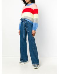 MSGM - Blue Belted Flared Jeans - Lyst