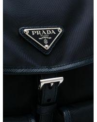 Prada - Blue Leather-trimmed Backpack - Lyst