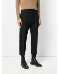 Rick Owens - Black Cropped Tailored Trousers for Men - Lyst