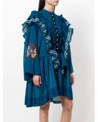 Philosophy Di Lorenzo Serafini - Blue Oversized Ruffle Trim Dress - Lyst