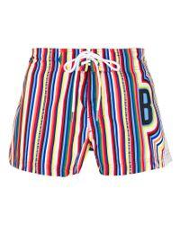 Dirk Bikkembergs - Blue Striped Swim Shorts for Men - Lyst