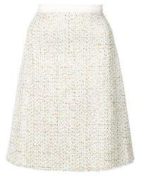 Giambattista Valli - Natural A-line Tweed Skirt - Lyst